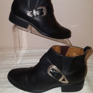 Ariat Western Black Leather Ankle Booties